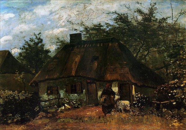 Изба и женщина с козой [ картина - городской пейзаж ] :: Ван Гог, описание картины - Van Gogh фото