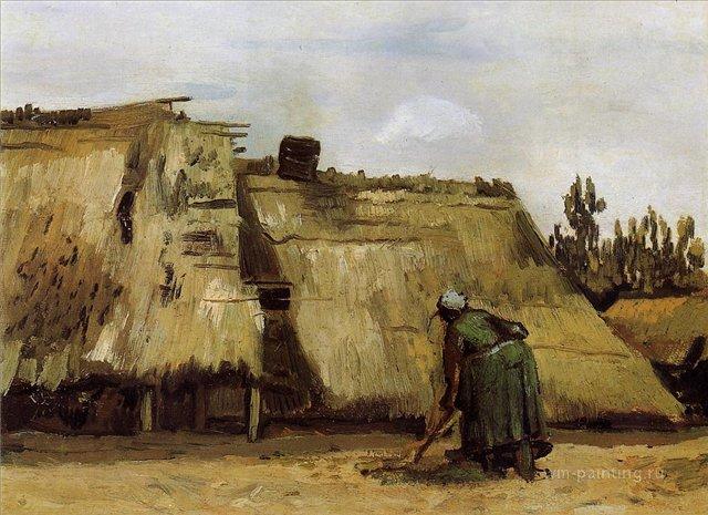 пейзаж Изба и копающая женщина :: Ван Гог, описание картины - Van Gogh фото