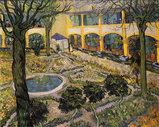 Внутренний двор госпиталя в Арли (городской пейзаж) :: Ван Гог, описание картины - Van Gogh фото