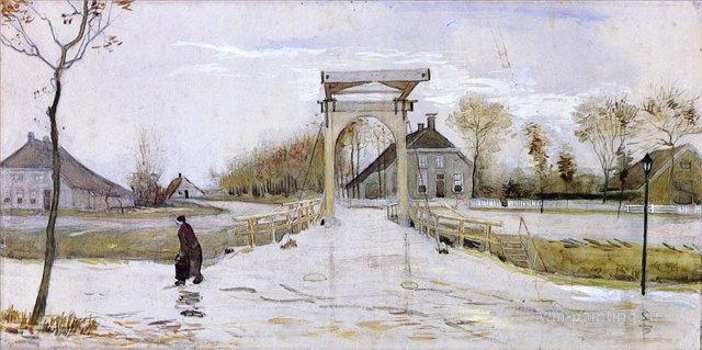 Разводной мост  [ картина - городской пейзаж ] :: Ван Гог, описание картины - Van Gogh фото