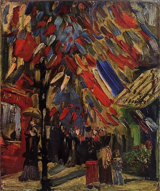 городской пейзаж 14 июля, празднование в Париже :: Ван Гог, описание картины - Van Gogh фото