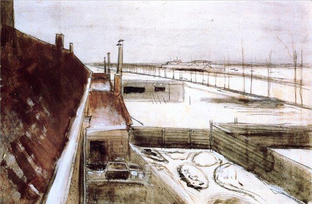 Вид из окна студии Винсента, зимой [ картина - городской пейзаж ] :: Ван Гог, описание картины - Van Gogh фото