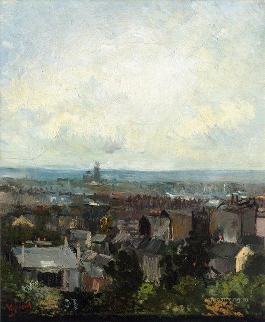 Вид на Париж с окрестностей Монмартра [ картина - городской пейзаж ] :: Ван Гог, описание картины - Van Gogh фото