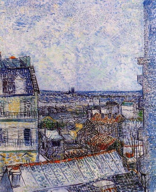 Вид на Париж из комнаты Винсента с улицы Лепик [ картина - городской пейзаж ] :: Ван Гог, описание картины - Van Gogh (Ван Гог) фото