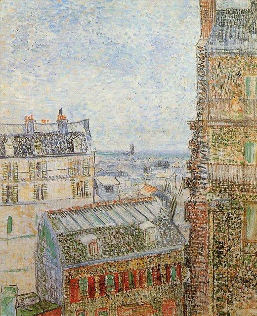Вид на Париж из комнаты Винсента с улицы Лепик [ картина - городской пейзаж ] :: Ван Гог, описание картины - Van Gogh фото