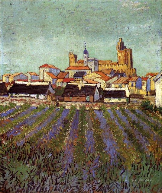 Вид на Сан-Мари [ картина - городской пейзаж ] :: Ван Гог, описание картины - Van Gogh (Ван Гог) фото
