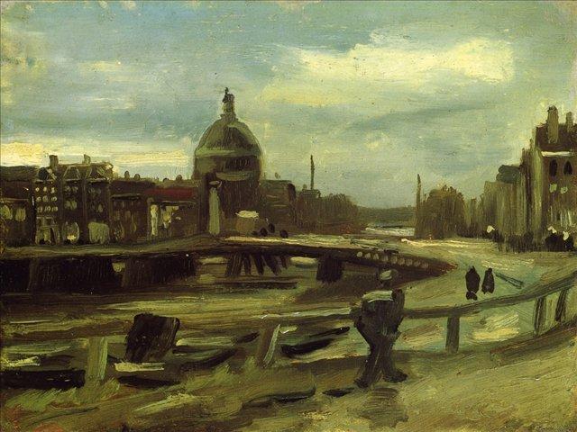 картина Вид на городскую стену в Амстердаме [ картина - городской пейзаж ] :: Ван Гог (Van Gogh), плюс статья про подарки - Van Gogh фото