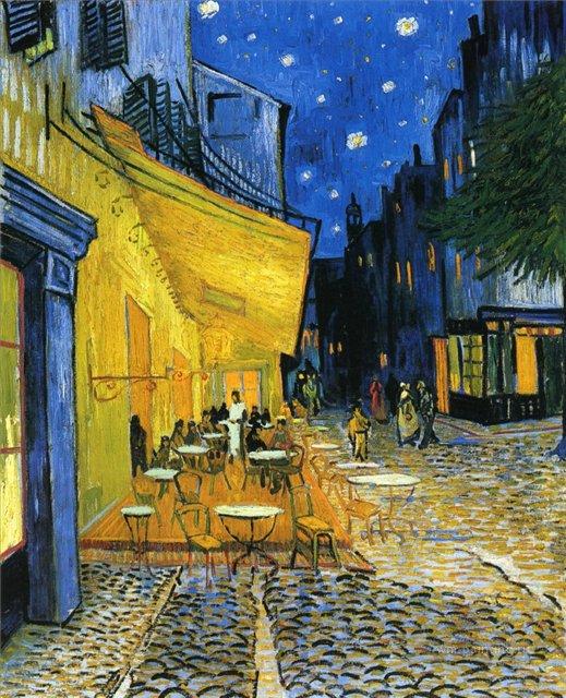 Терраса ночного кафе [ картина - городской пейзаж ] :: Ван Гог, описание картины - Van Gogh (Ван Гог) фото