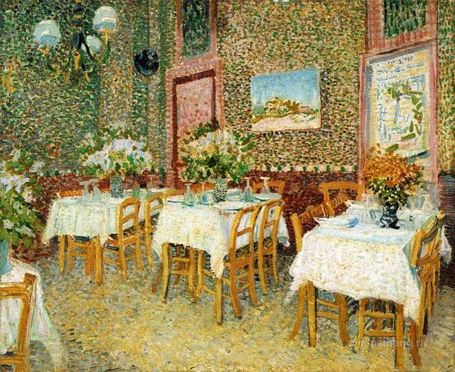 Интерьер ресторана [ картина - интерьер ] :: Ван Гог, описание картины - Van Gogh (Ван Гог) фото