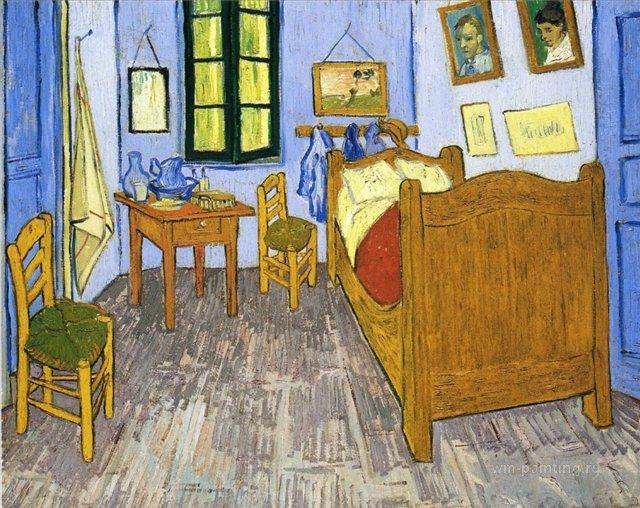 картина Спальня Винсента в Арле [ интерьер ] :: Ван Гог, описание картины - Van Gogh фото