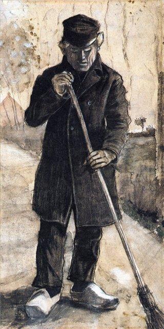 Мужчина с метлой [ картина - ранняя работа ] :: Ван Гог, описание картины - Van Gogh фото
