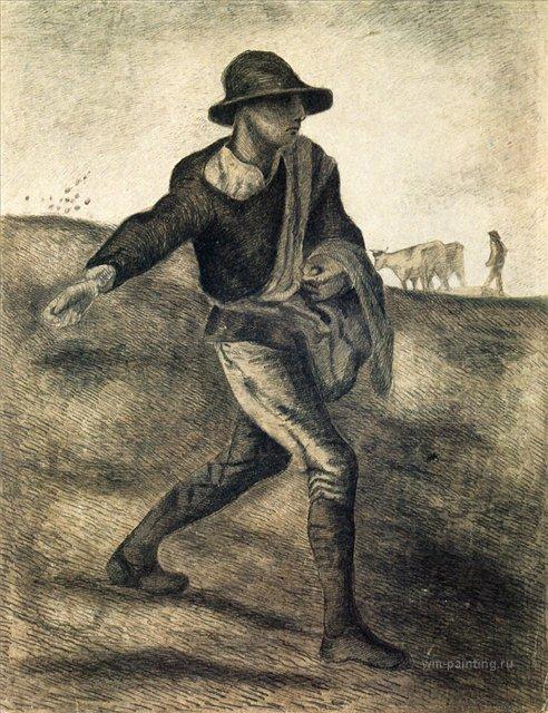 Сеятель (подражание Милле) [ картина - ранняя работа ] :: Ван Гог, описание картины - Van Gogh фото