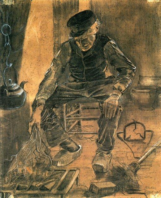 Старик, смахивающий мокрый рис в очаг [ картина - живопись постимпрессионизм ] :: Ван Гог, описание картины - Van Gogh фото
