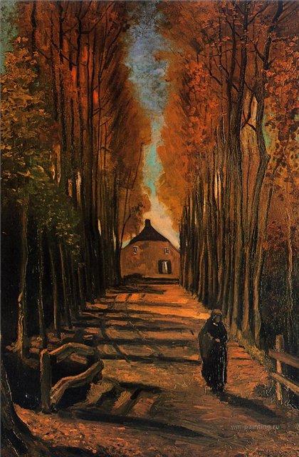Улица с тополями на закате [ картина - живопись постимпрессионизм ] :: Ван Гог, описание картины - Van Gogh фото