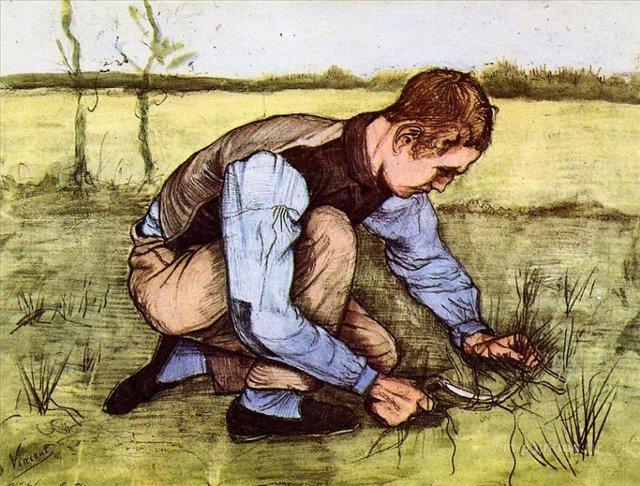 Мальчик, обрезающий траву серпом [ картина - живопись постимпрессионизм ] :: Ван Гог, описание картины - Van Gogh фото