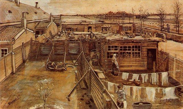 Мастерская плотника, вид из студии художника [ картина - живопись постимпрессионизм ] :: Ван Гог, описание картины - Van Gogh фото