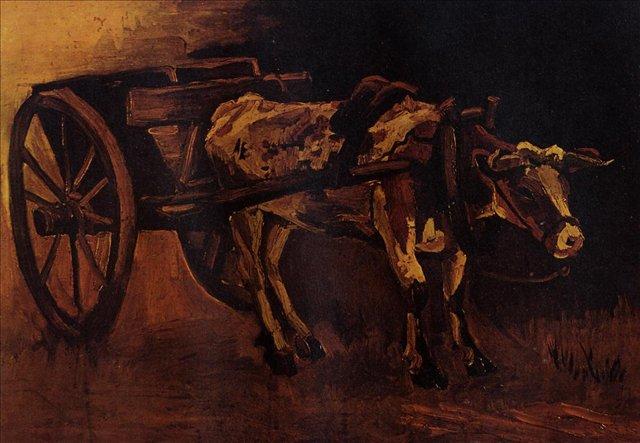 Телега с красно-белым быком [ картина - живопись постимпрессионизм ] :: Ван Гог, описание картины - Van Gogh (Ван Гог) фото