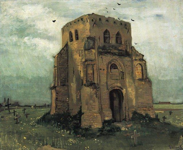 Местный церковный двор и старая церковная башня [ картина - живопись постимпрессионизм ] :: Ван Гог, описание картины - Van Gogh (Ван Гог) фото