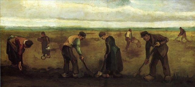 Фермеры сажают картофель [ картина - живопись постимпрессионизм ] :: Ван Гог, описание картины - Van Gogh (Ван Гог) фото
