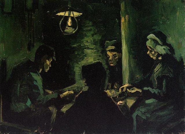 """Четыре крестьянина за едой (Штудия для """"Едоков картофеля"""") [ картина - живопись постимпрессионизм ] :: Ван Гог, описание картины - Van Gogh (Ван Гог) фото"""