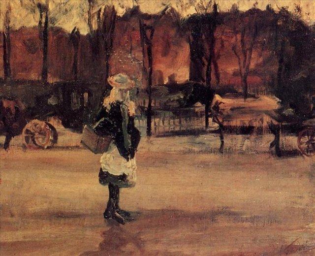 Девочка на улице на фоне двух повозок [ картина - живопись постимпрессионизм ] :: Ван Гог, описание картины - Van Gogh фото