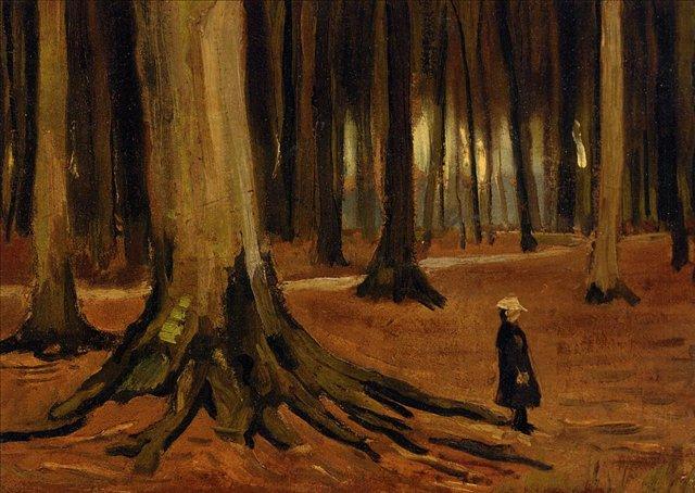 Девочка в лесу [ картина - живопись постимпрессионизм ] :: Ван Гог, описание картины - Van Gogh фото