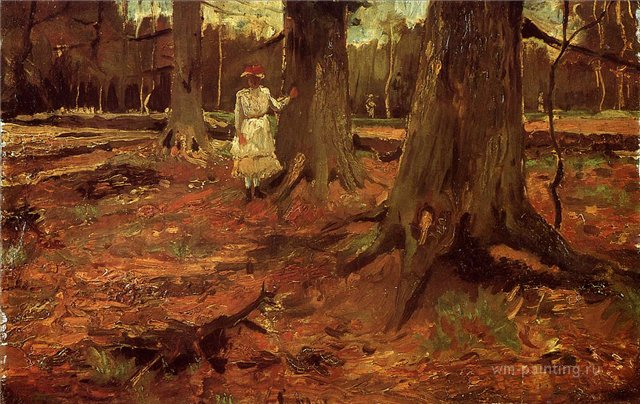 Девочка в белом в лесу [ картина - живопись постимпрессионизм ] :: Ван Гог, описание картины - Van Gogh (Ван Гог) фото