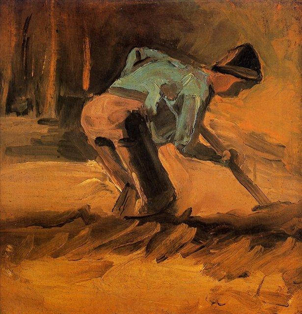 Копающий мужчина [ картина - живопись постимпрессионизм ] :: Ван Гог, описание картины - Van Gogh фото