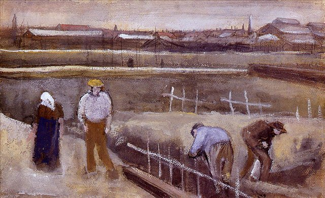 жанровая картина Луг неподалёку от Рийсвийка :: Ван Гог, описание картины - Van Gogh фото