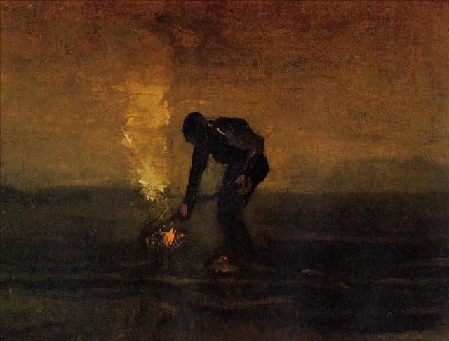 Крестьянин разжигающий костёр [ картина - живопись постимпрессионизм ] :: Ван Гог, описание картины - Van Gogh фото