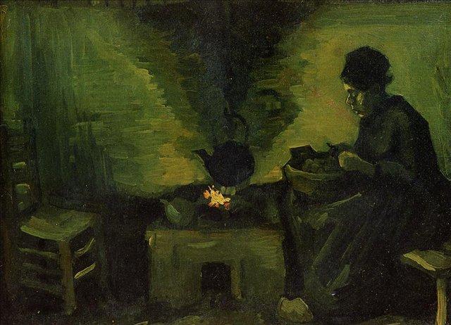 Крестьянка у очага [ картина - живопись постимпрессионизм ] :: Ван Гог, описание картины - Van Gogh фото