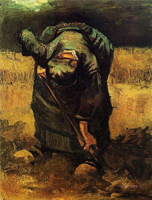 Копающая крестьянка [ картина - живопись постимпрессионизм ] :: Ван Гог, описание картины - Van Gogh фото