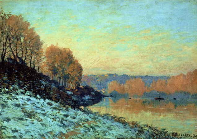 пейзаж Сена в Буживале зимой  :: Сислей Альфред - Alfred Sisley фото