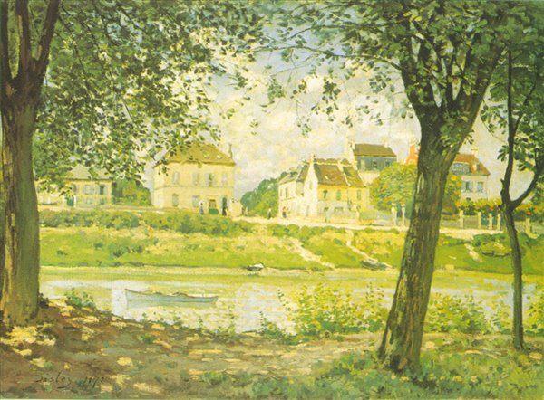 Городок Вильнев-ла-Гаренн :: Сислей Альфред - Alfred Sisley фото