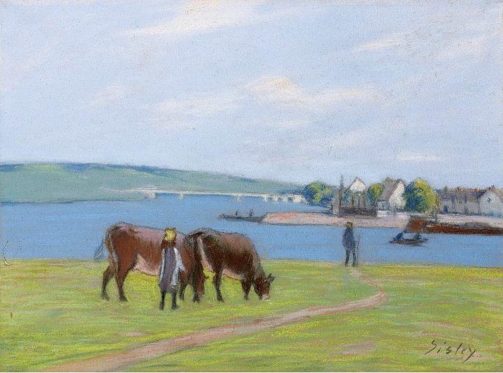 Коровы на лугу ::  Альфред Сислей - Alfred Sisley фото