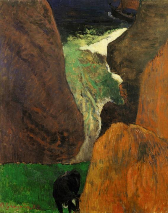 Морской пейзаж с коровой на краю скалы :: Поль Гоген, картина, плюс статья про подарки - Paul Gauguin фото