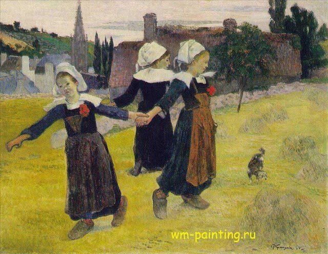 Танцующие девочки, художник Поль Гоген, описание картины  - Paul Gauguin фото