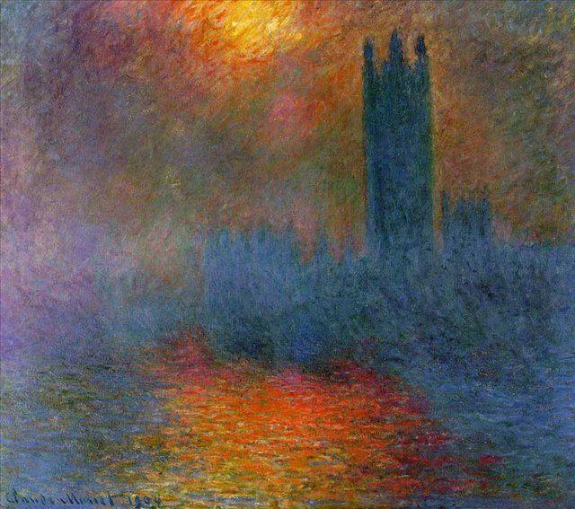 Здание Парламента, солнце просвечивающее сквозь туман, Клод Моне - Claude Monet фото