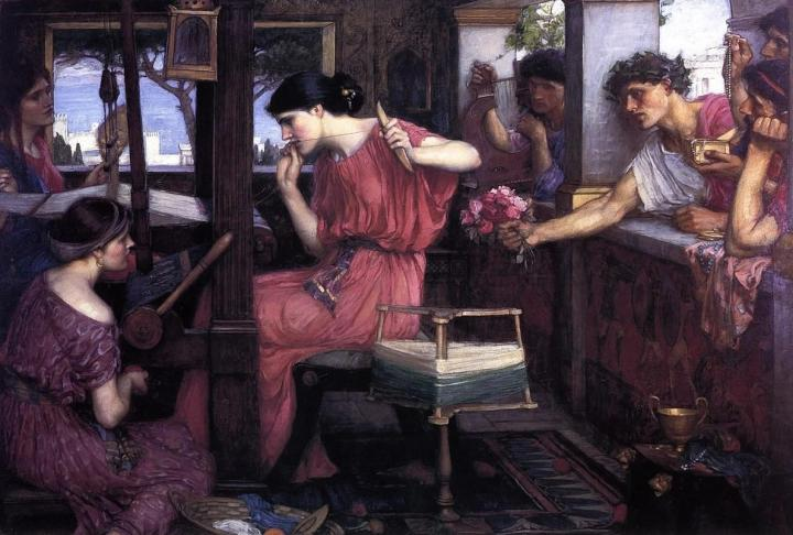 Пенелопа и женихи (цветы и подарки) :: Джон Уильям Вотерхауз - John William Waterhouse фото