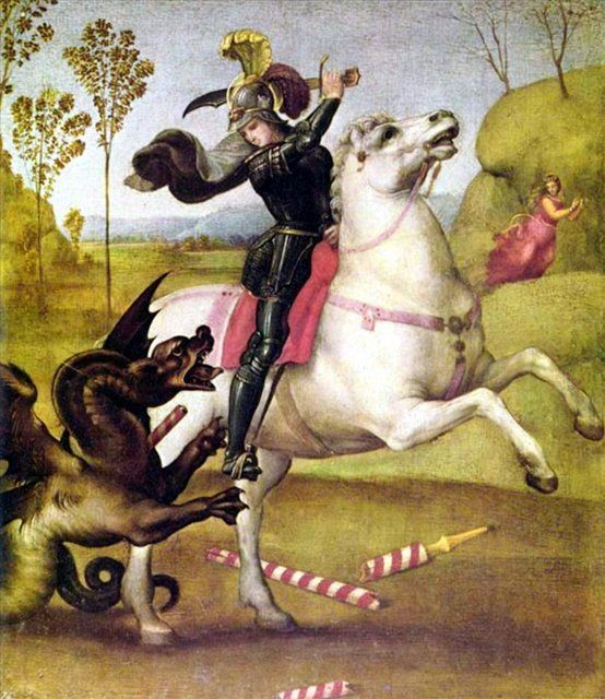 картина Святой Георгий, борющийся с драконом  :: Рафаэль Санти, описание картины - Raffaello Santi фото