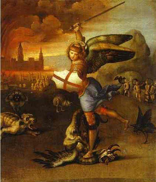 картина Св. Михаил и дракон :: Рафаэль Санти, описание картины - Raffaello Santi фото