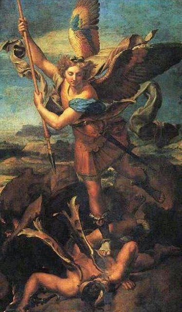 Святой Михаил и сатана :: Рафаэль Санти, описание картины - Raffaello Santi фото