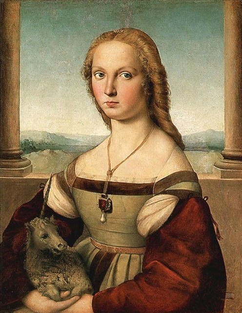 Дама с единорогом, Рафаэль Санти - Raffaello Santi фото