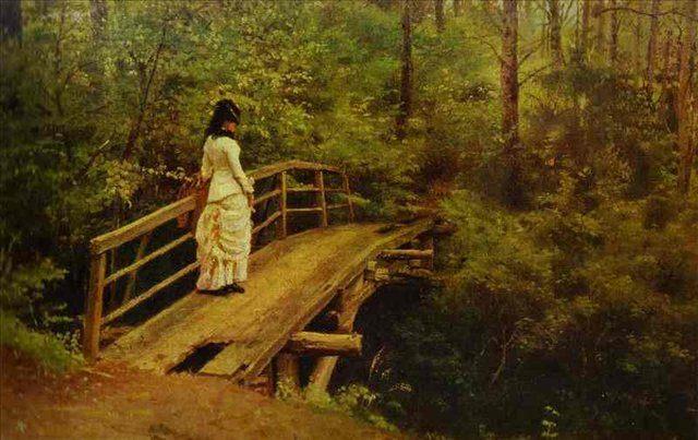 картина На мосту в Абрамцево :: И. Репин, описание - Ilya Yefimovich Repin фото