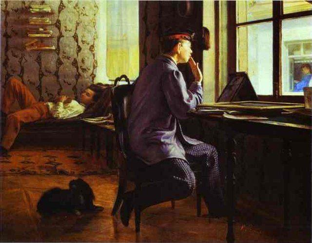 Подготовка к экзаменам :: Репин Илья Ефимович, описание картины - Ilya Yefimovich Repin фото