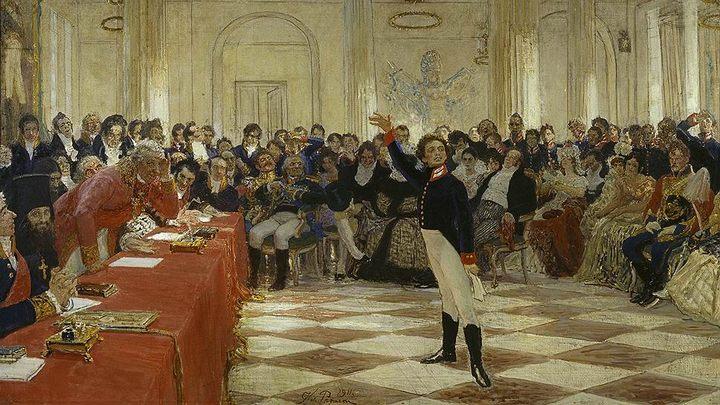 картина Пушкин читает поэму перед Державиным :: Репин Илья Ефимович - Репин Илья ( Ilya Yefimovich Repin ) фото