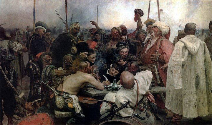 картина Ответ запорожских казаков турецкому султану Махмуду IV :: Репин Илья Ефимович - Ilya Yefimovich Repin фото