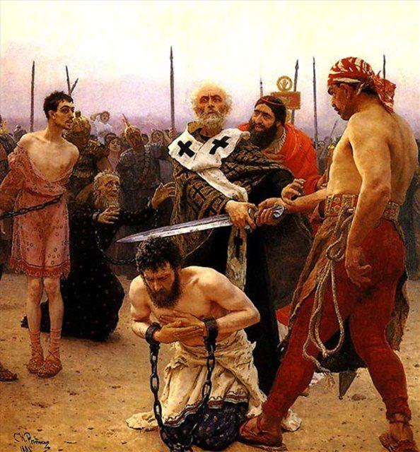 картина Николай Мирликийский избавляет от смертной казни трех невинно осужденных :: Илья Репин - Ilya Yefimovich Repin фото