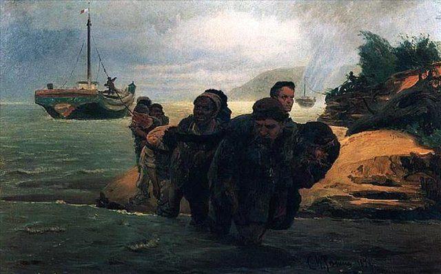 Бурлаки идущие вброд :: Репин Илья Ефимович, описание картины - Ilya Yefimovich Repin фото