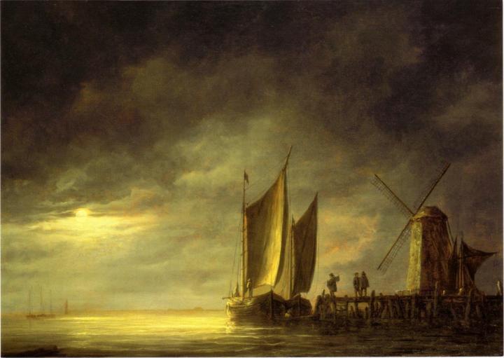 Морские пейзажи [ Порт Дордрехт при лунном свете ::  Альберт Куп ( Голландия ) ] - Море в живописи ( морские пейзажи, seascapes ) фото